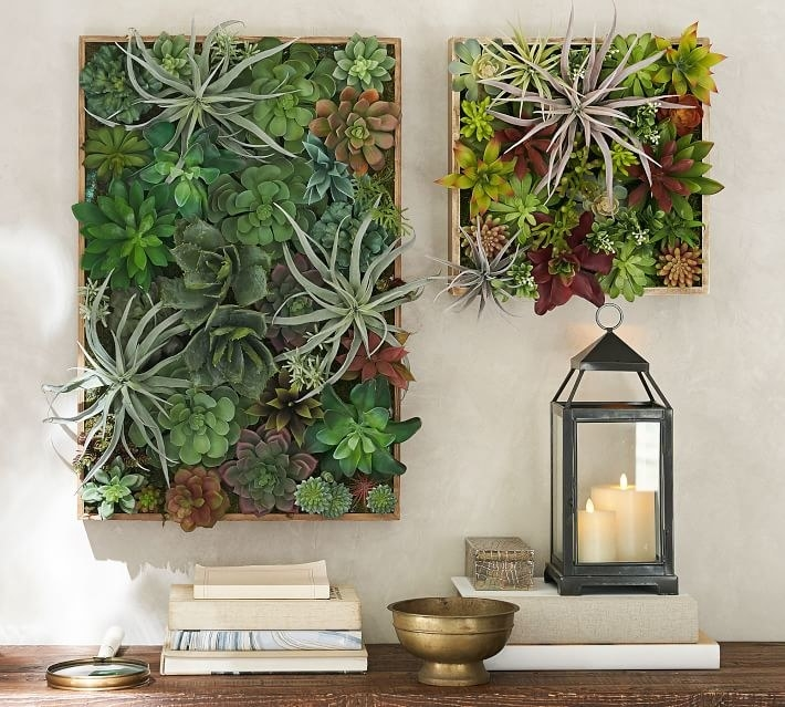 two different sized box-like frames with fake succulents all over them