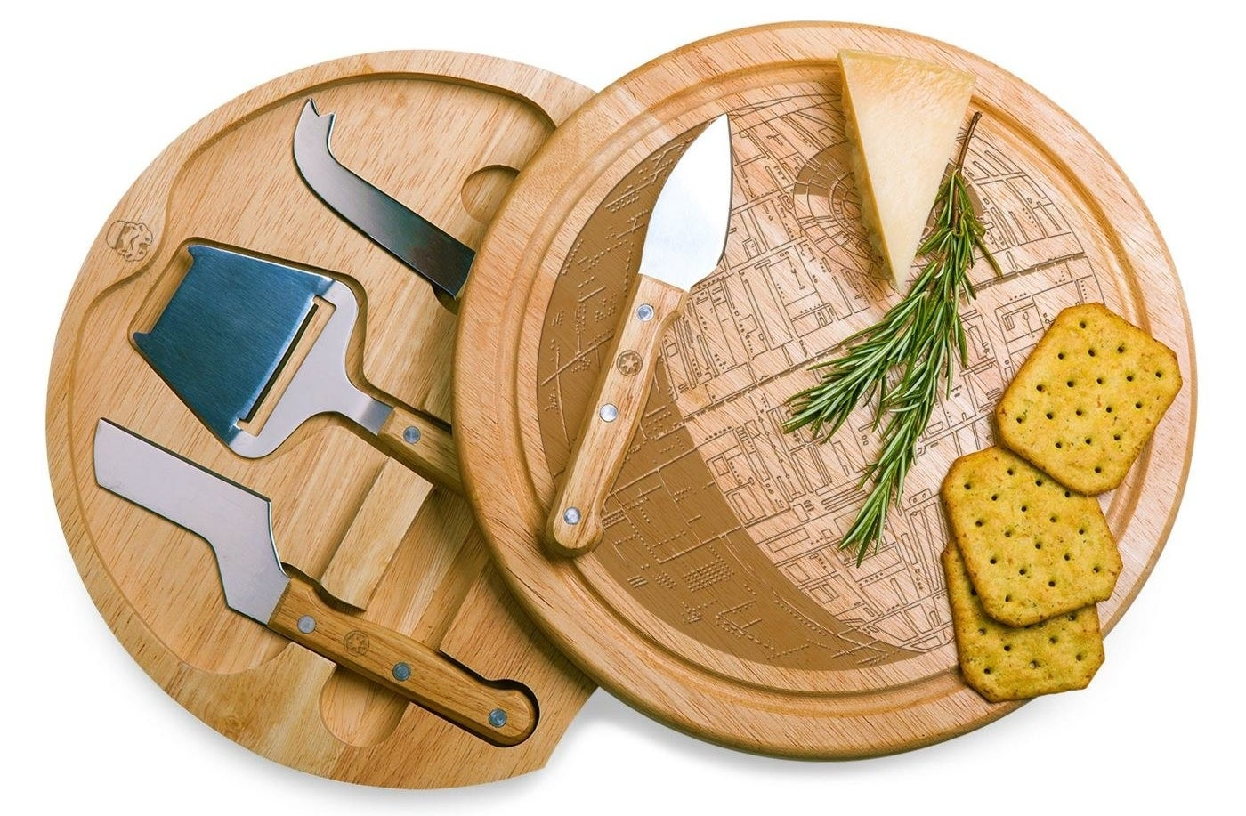 round wood cheese board with top swiveled forward, showing the inside with cheese tools that fit into holes perfectly, and the etching of a Death Star on top