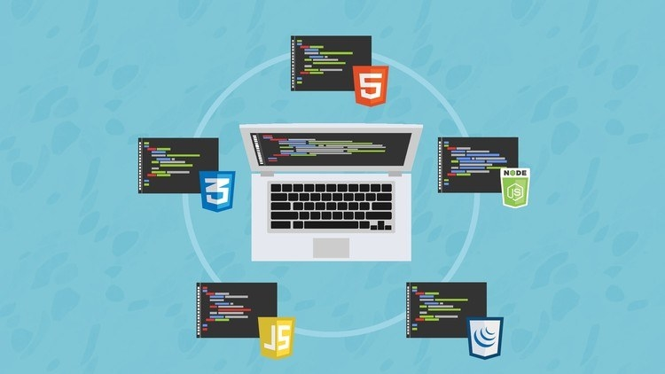 Illustration of a laptop surrounded by five command terminals, each denoted with the logo of a different computer language
