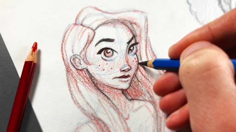 A hand holding a colored pencil, detailing a sketch of a girl