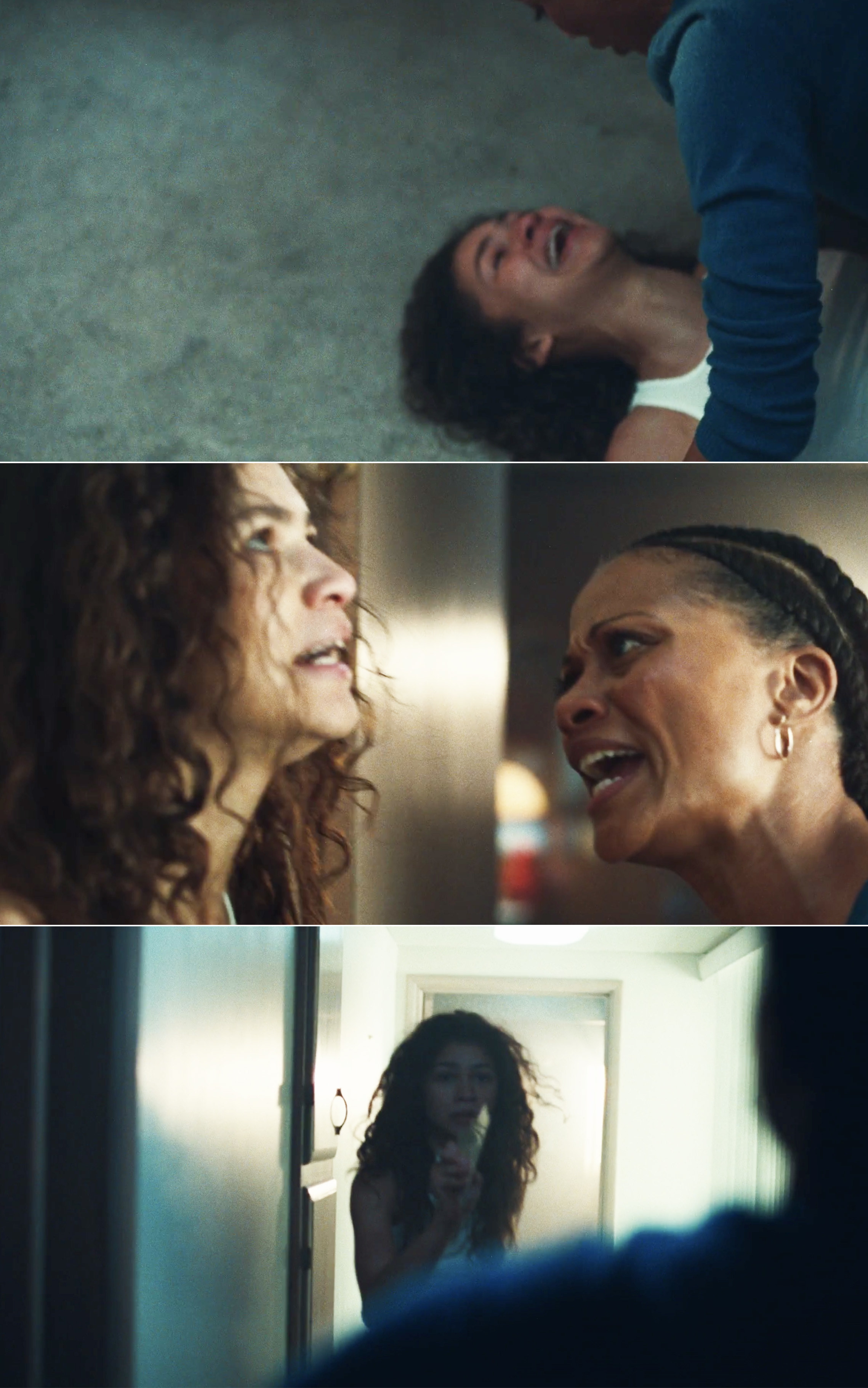 Rue and her mom fighting in the hallway and Rue's mom pinning her to the floor while she screams and cries