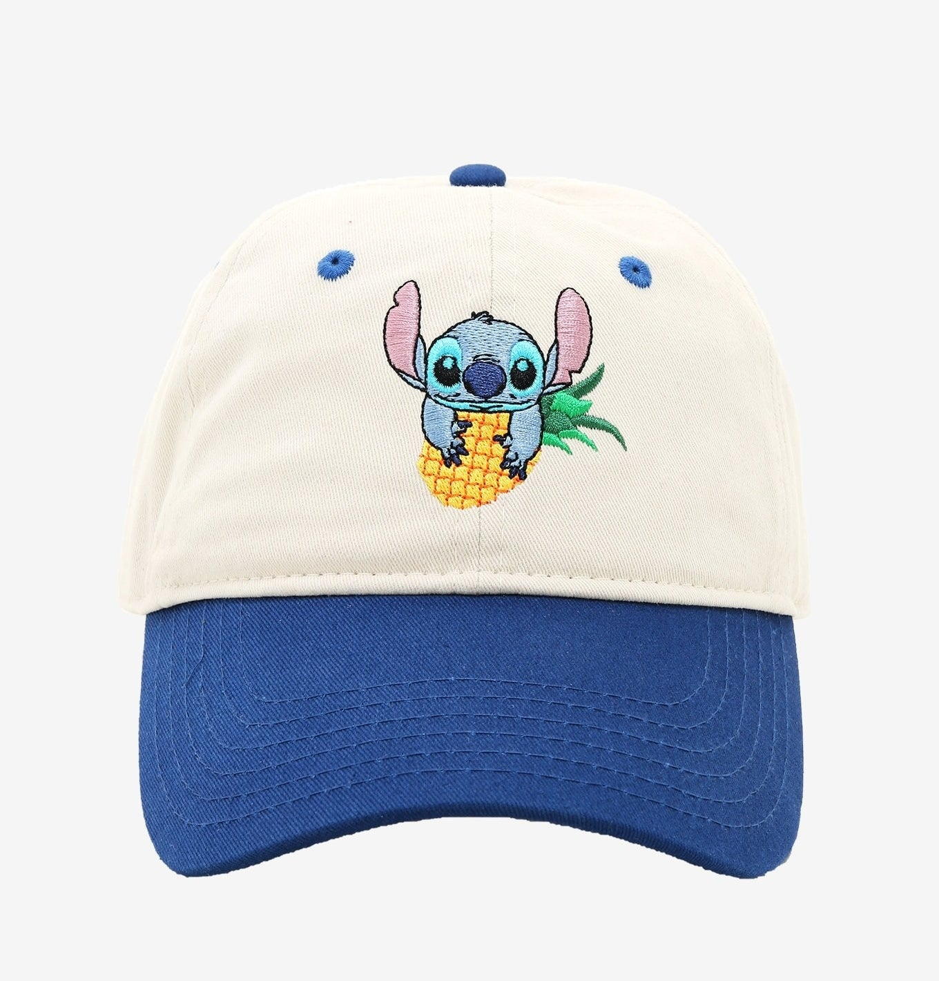 white hat with blue brim and stitch on the front