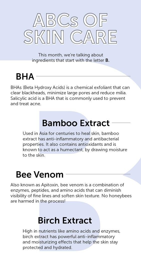 Chart with different skincare definitions