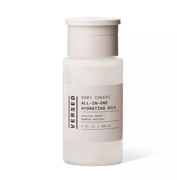 clear bottle of Versed Skincare Baby Cheeks Hydrating Milk