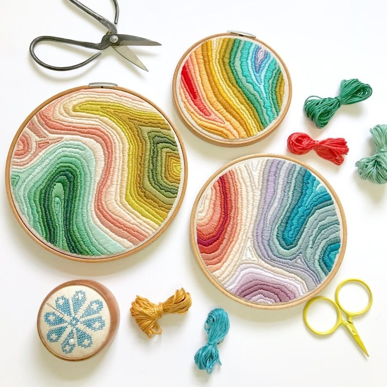 Multi-color embroidery pattern in three different sized hoops