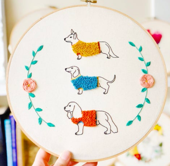 Three different dogs in sweaters with floral frame