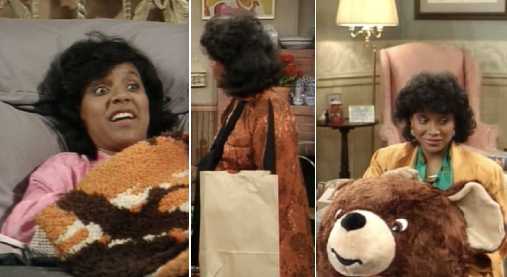 Phylicia Rashad carrying a giant stuffed bear