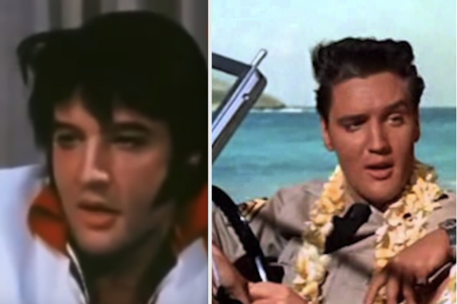 Elvis and his signature black hair in old movies