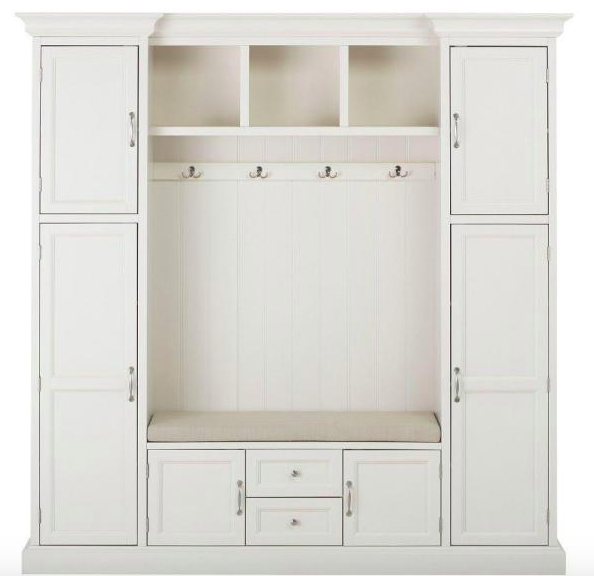 A white wood cabinet with a bench in the middle of it