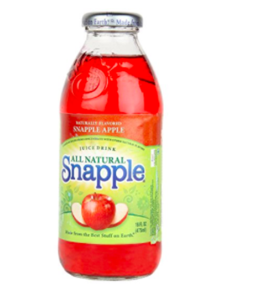 A bottle of apple flavored Snapple