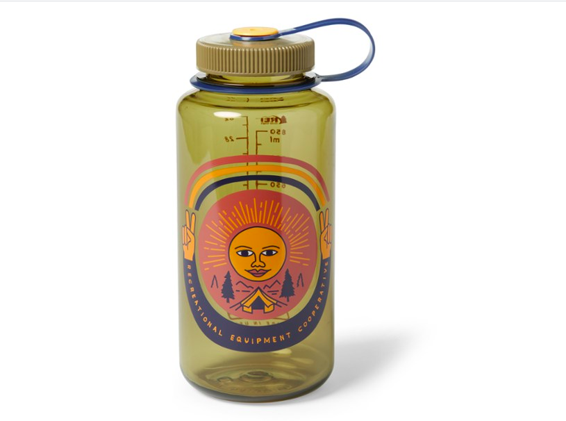 Yellow-tinted Nalgene with illustration of sun and peace sign fingers