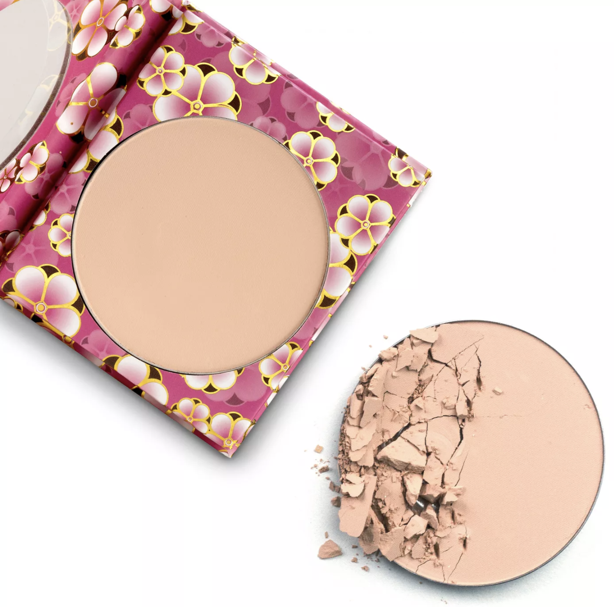 the translucent powder in pink floral packaging