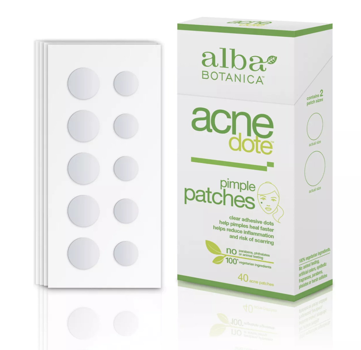 a box of the pimple patches and a set of them in an array of sizes