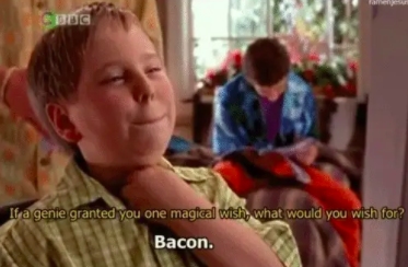 beans saying bacon