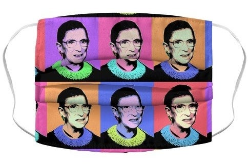 neon pop art print face mask of ruth bader ginsburg