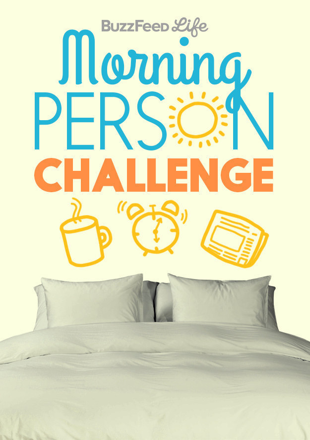 """illustrated graphic that says """"BuzzFeed Morning Person Challenge"""" above bed"""