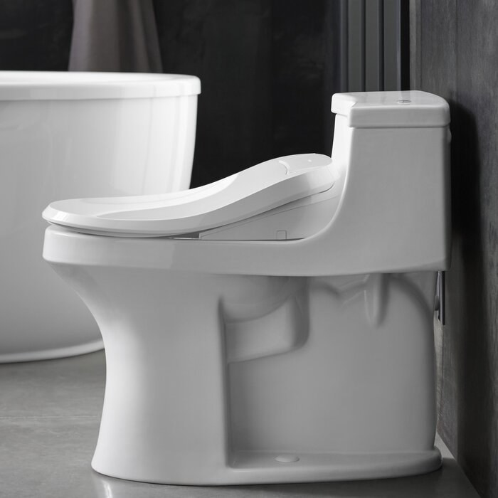 White curvy toilet from the side
