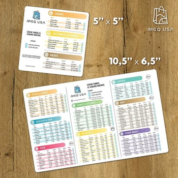 The two sheets with suggested cook times and ratios for grains, meats, veggies, beans, and more