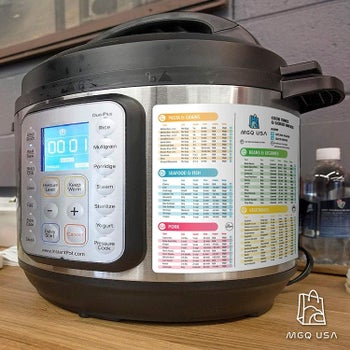 An Instant Pot with the sheets on the side
