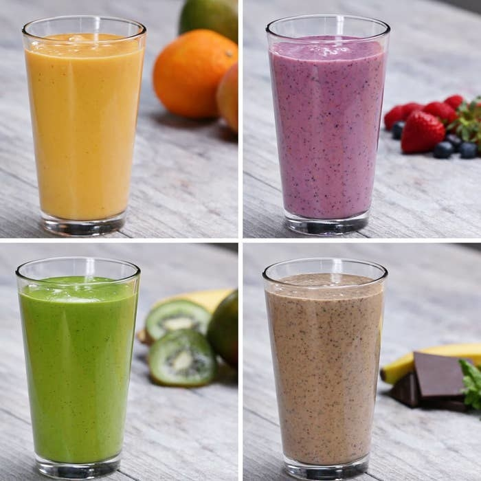 green, brown, yellow, and purple smoothies with fruit, veggies, and protein
