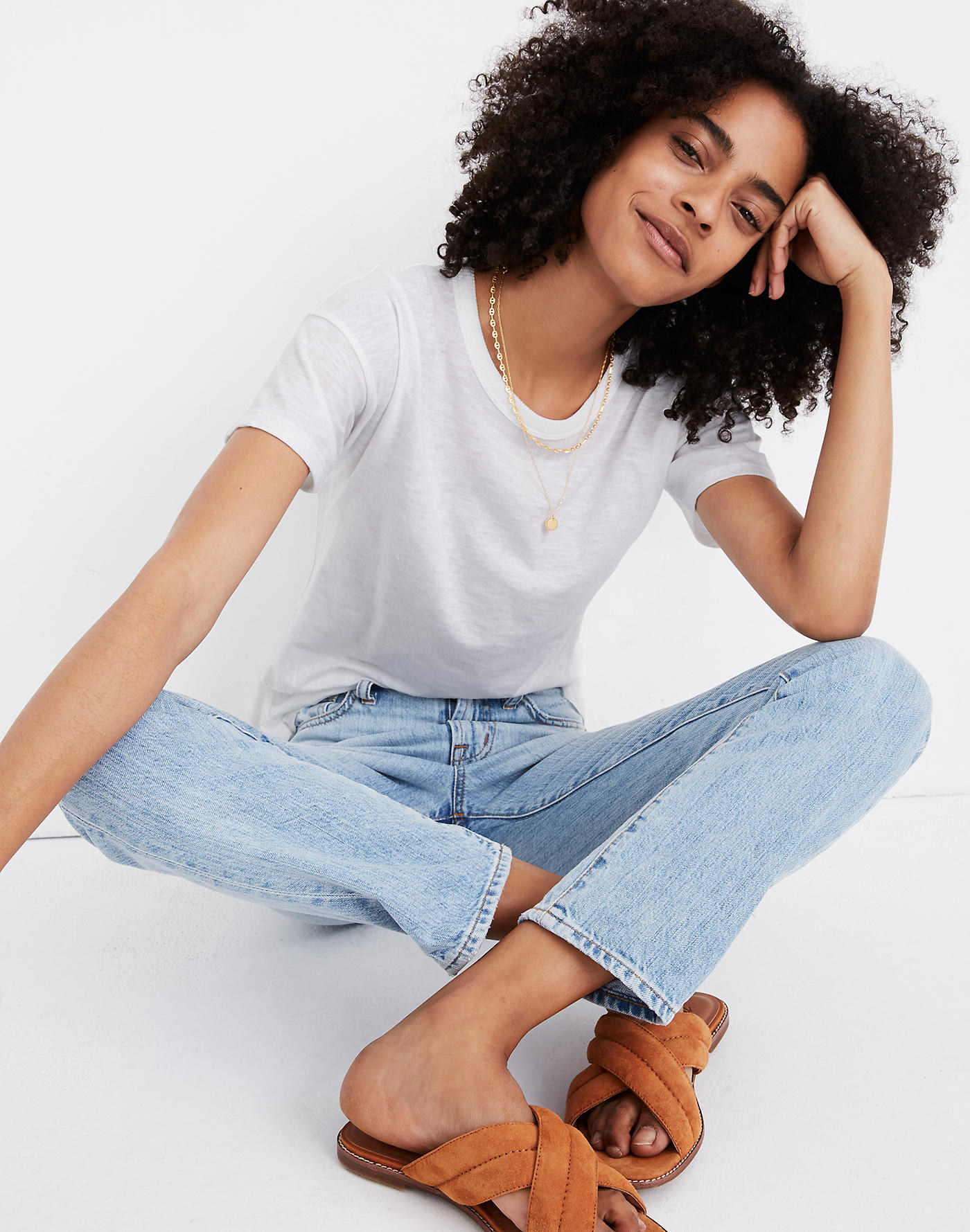 A model wearing the textured tee in white