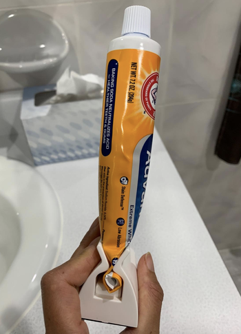 reviewer photo of toothpaste in tube