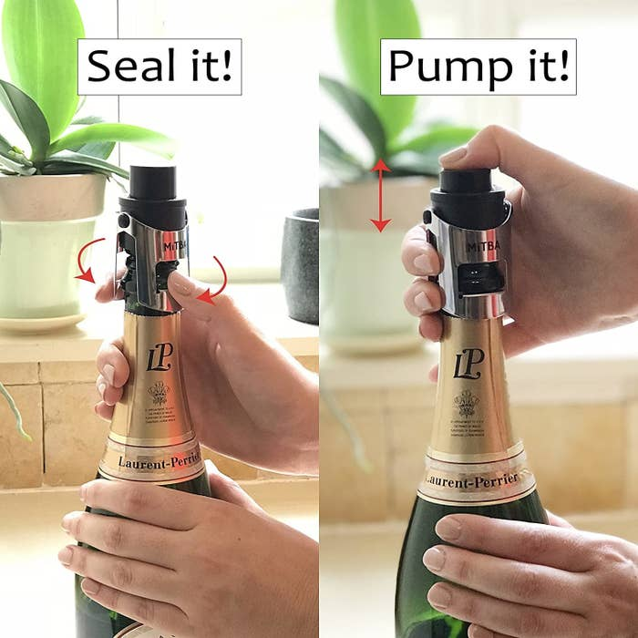 Double image: On the left, model's hands around a champagne bottle with arrows pointing to where it is sealed and on the right, the hand and a red arrow showing how to press it down with the words 'Pump it'