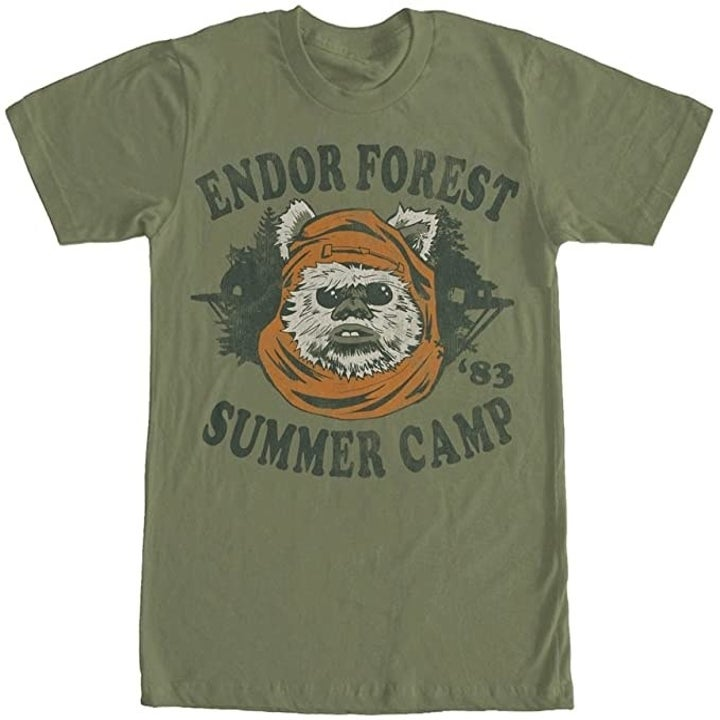 "an olive green tee that says ""endor forest summer camp"" on it and an ewok"
