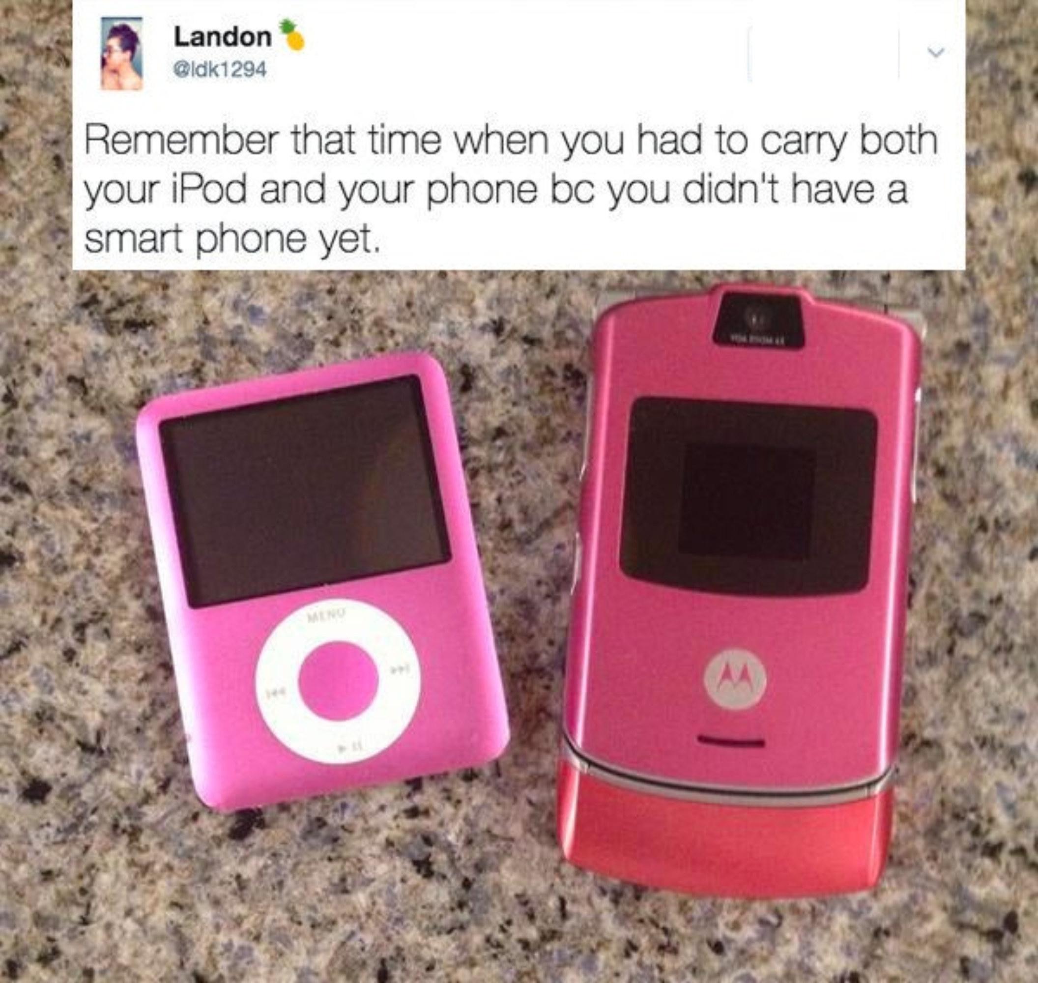 A pink iPod Mini next to a pink Razr