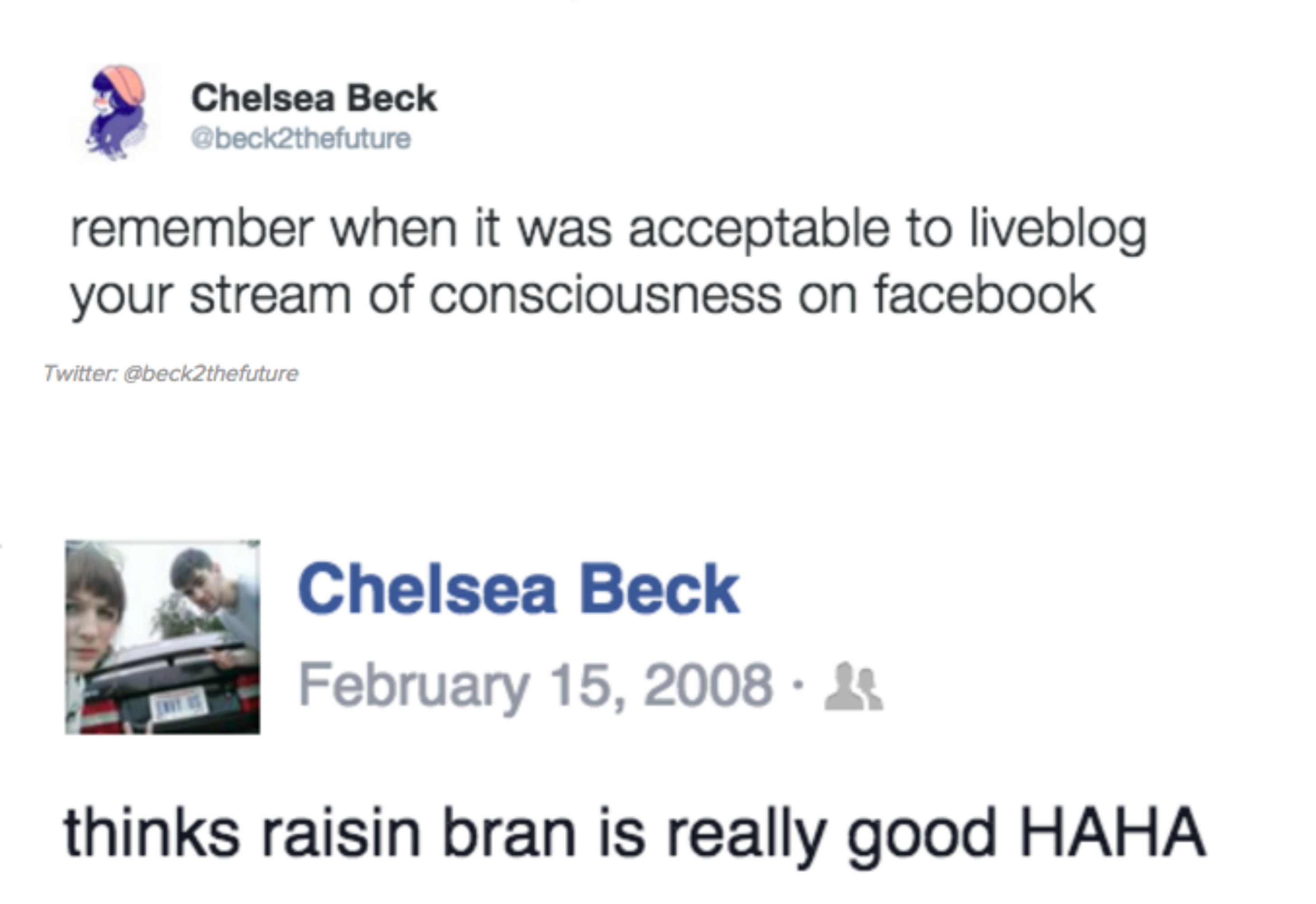 Facebook post of someone talking about how much they like Raisin Bran