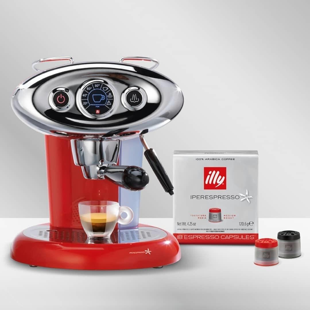 Espresso machine on white table