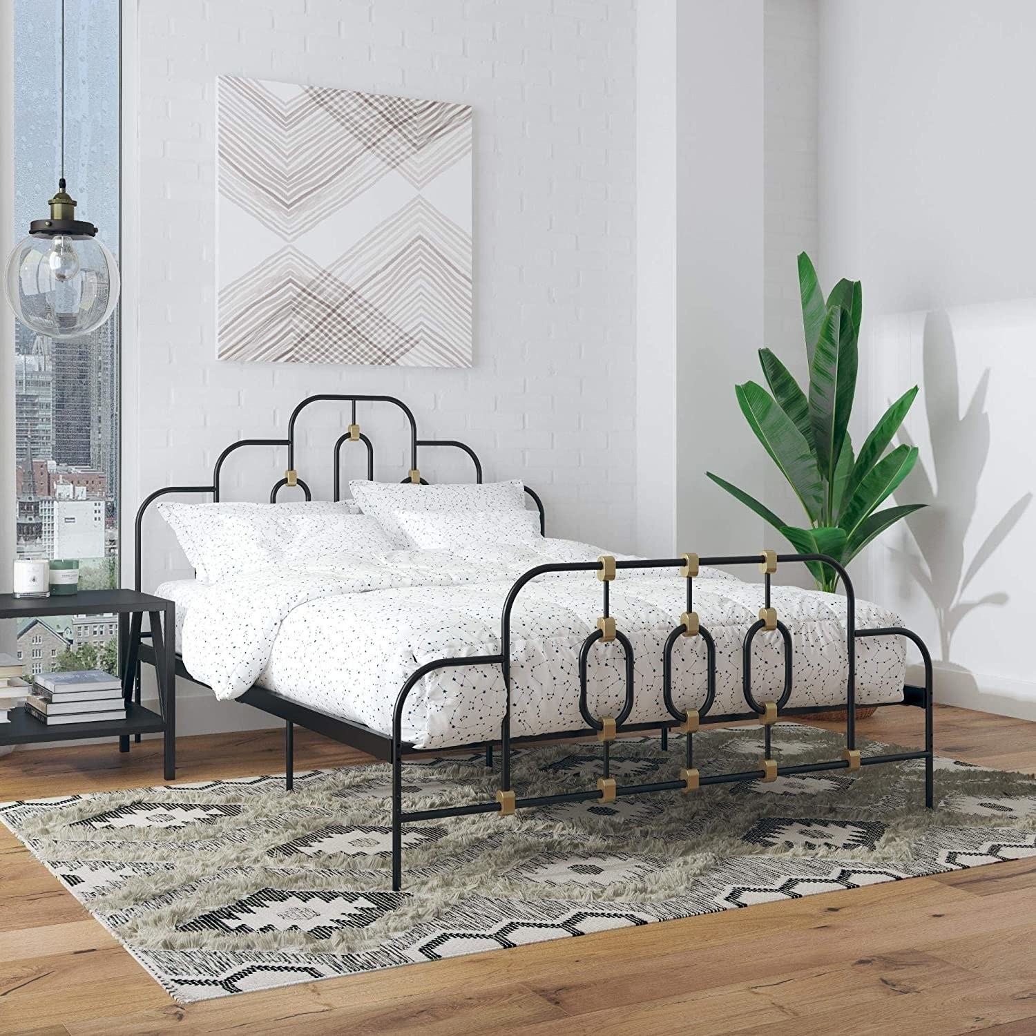 bed with intricate wire bed frame