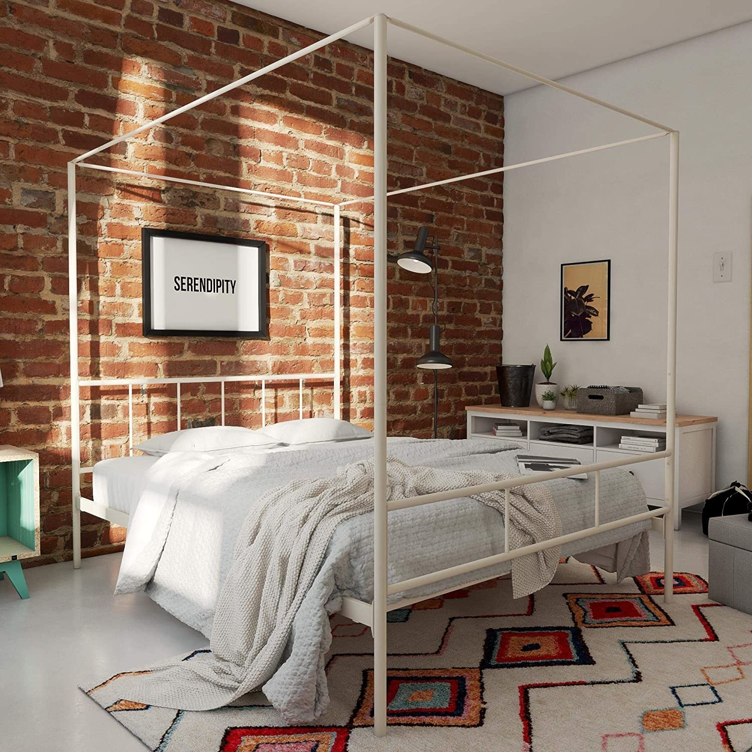 bed with minimalist modern canopy that's square shaped