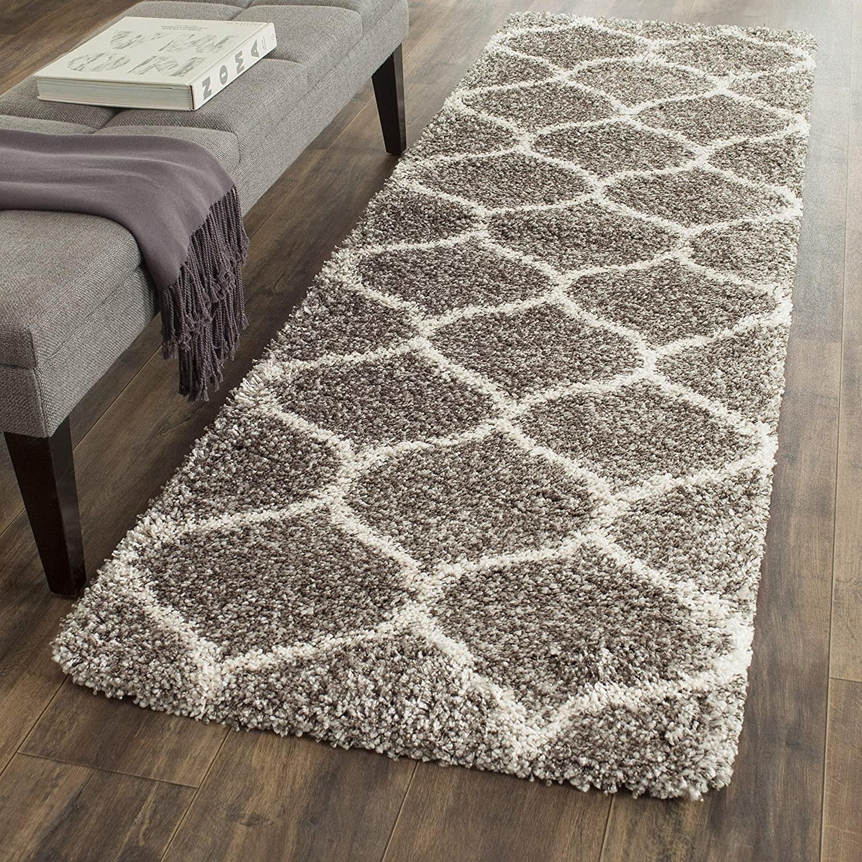 shag-like runner rug with trellis design on it