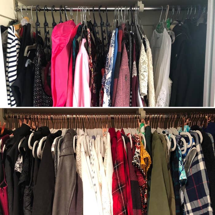 reviewer's before and after of their closet fitting much more clothing items after switching to the thin velvet hangers