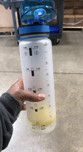 Reviewer holds clear time-marked water bottle with sliced lemons and water inside
