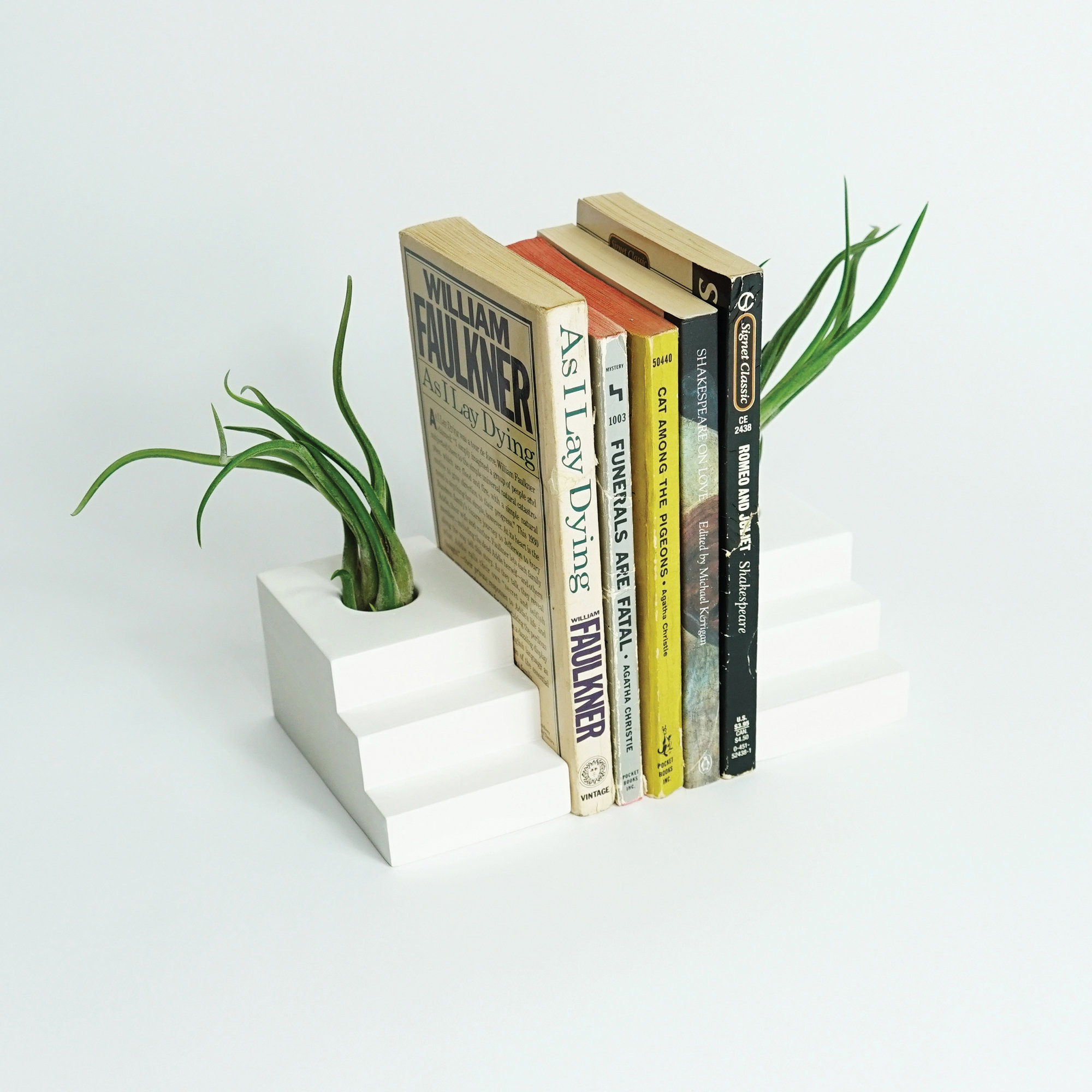 Concrete step bookends holding air plants with books