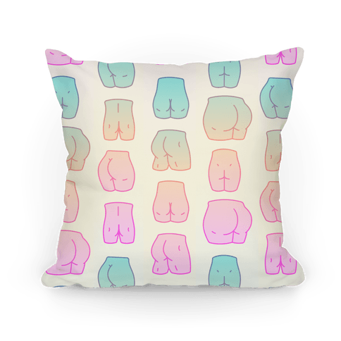 pillow with rainbow butts on it