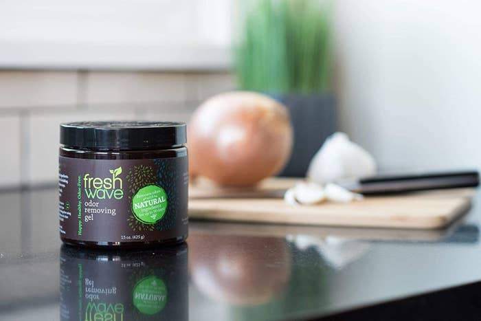 The jar of odor-removing gel