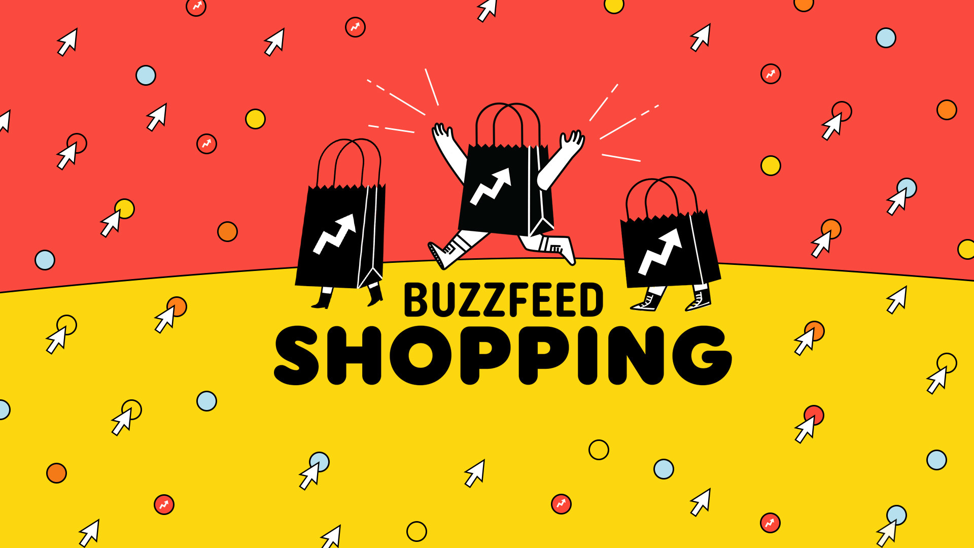 "illustration of shopping bag with BuzzFeed arrow logo and arms and legs running happily through a red and yellow background reading ""BuzzFeed Shopping"""