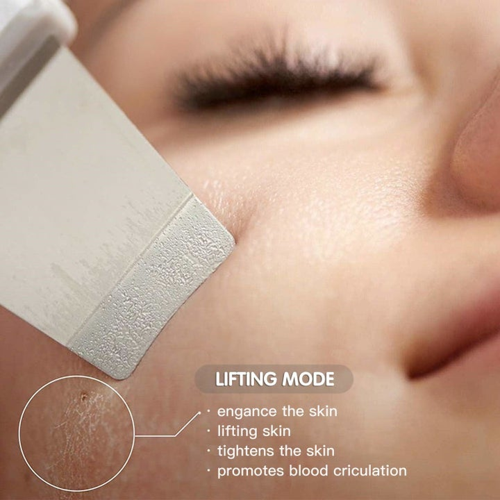 The skin scrubber being used on a model's face to show how it lifts away dead skin cells