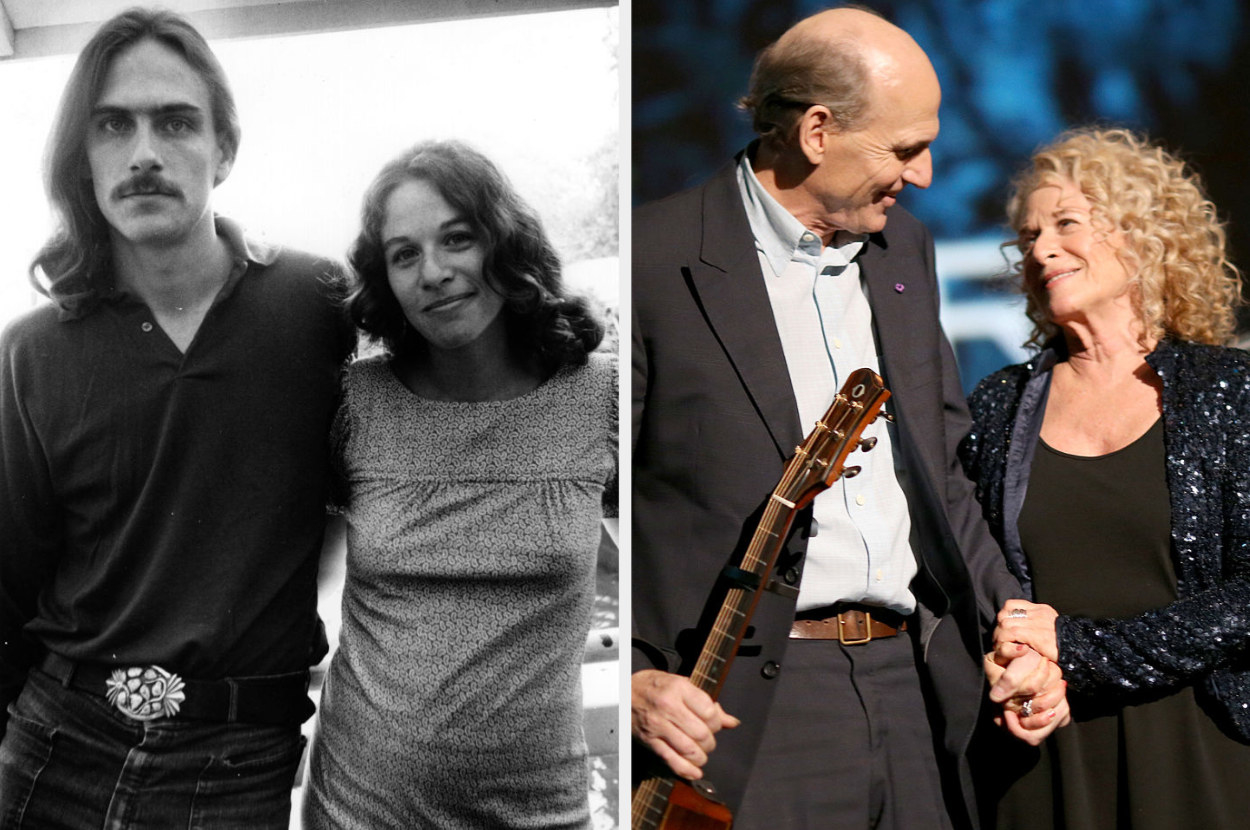 James Taylor and Carole King in 1971; James Taylor and Carole King in 2010