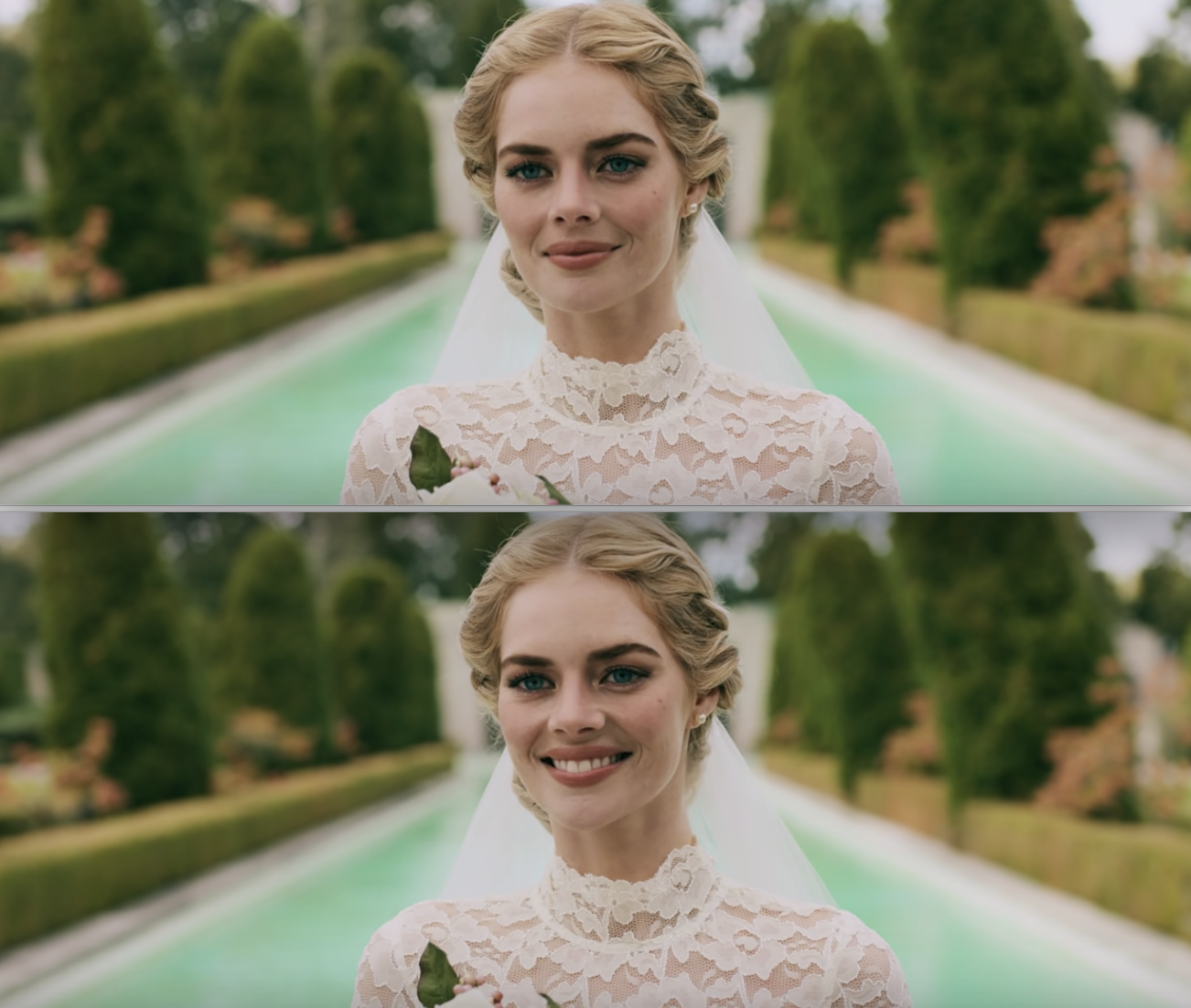 """Samara in a wedding dress in the beginning of """"Ready or Not"""""""