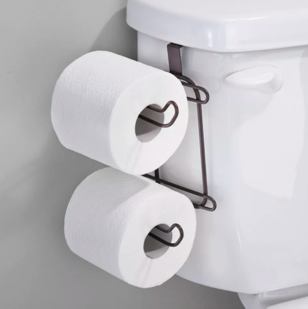 A metal toilet tissue holder hooks on the side of the toilet tank to hold two horizontal toilet tissue rolls that can also be used as a double toilet roll holder itself
