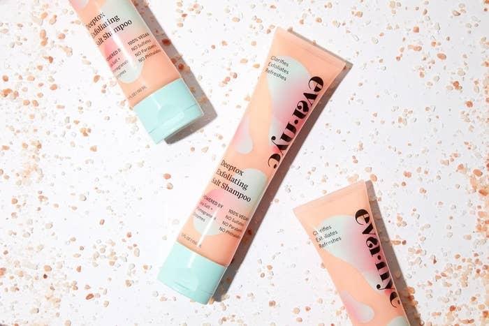 pink tube of shampoo