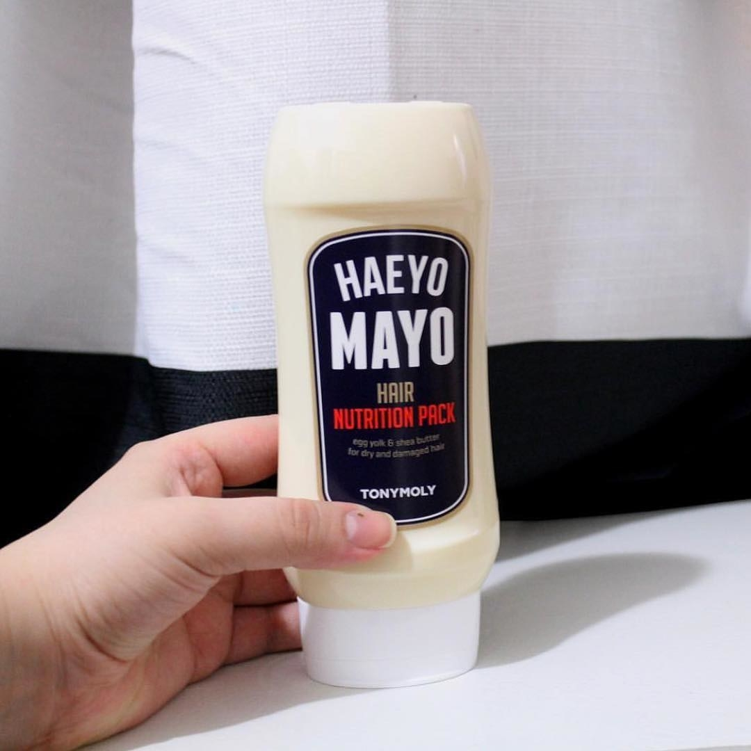 A bottle of a hair mayo that looks like a bottle of real mayo
