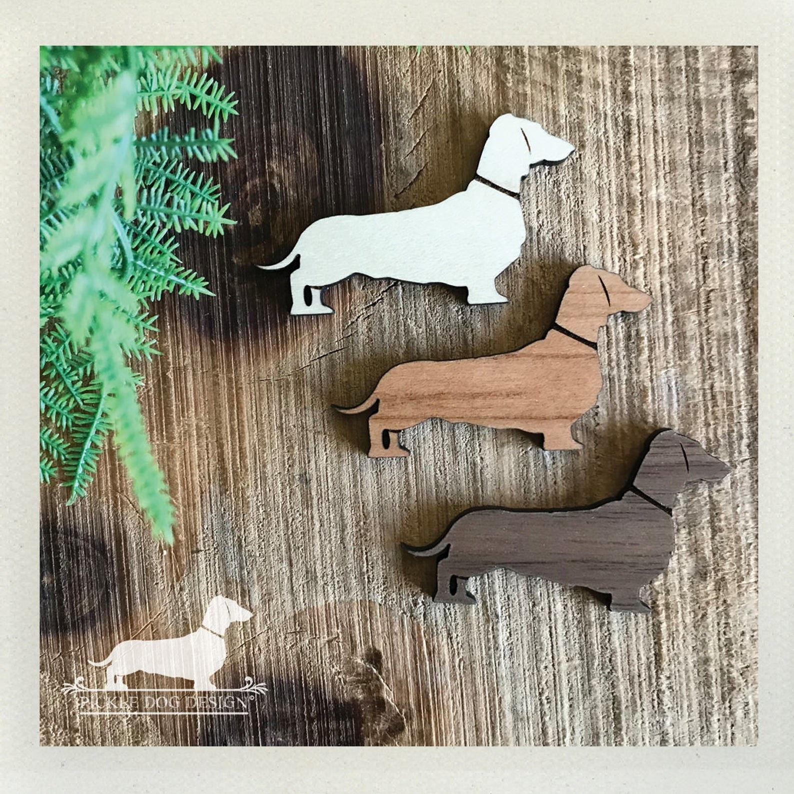 wooden wiener dog magnets