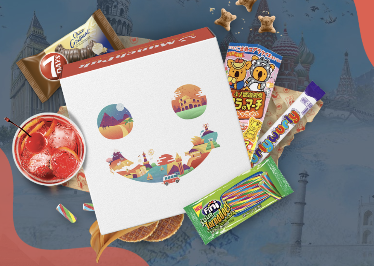 A MunchPak subscription box packed with different snacks, candies, and more food