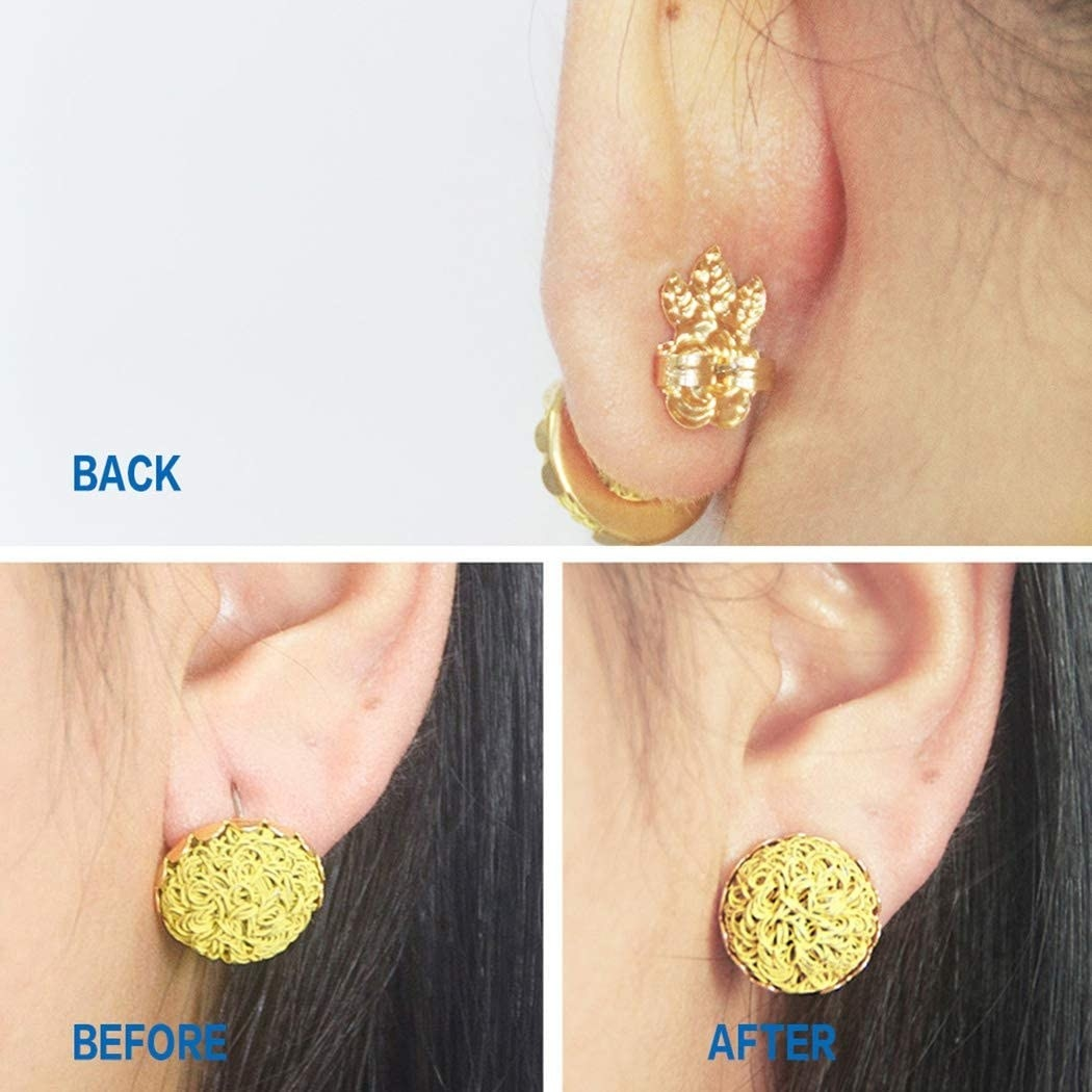 model wearing gold earrings that are drooping before; after photo shows the earrings aren't drooping