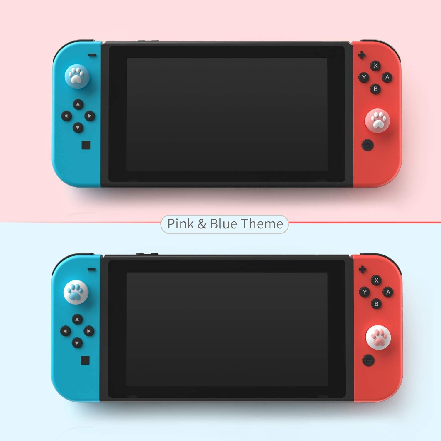 switches with the paw print thumb covers attached in two color schemes